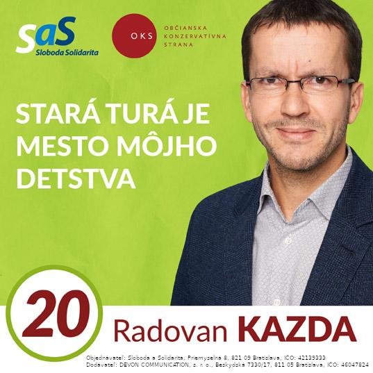 Radovan Kazda, kandidát č. 20, Strana SaS