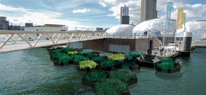 V Rotterdame otvorili plávajúci park z recyklovaného plastového odpadu