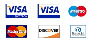 MasterCard, Maestro, VISA, VISA Electron, Discover, Diners Club International